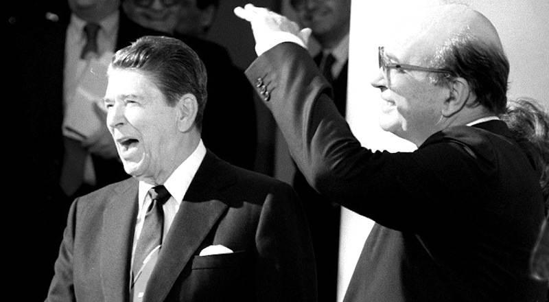 Craxi e Reagan durante l'incontro del 24 ottobre 1985 a New York.