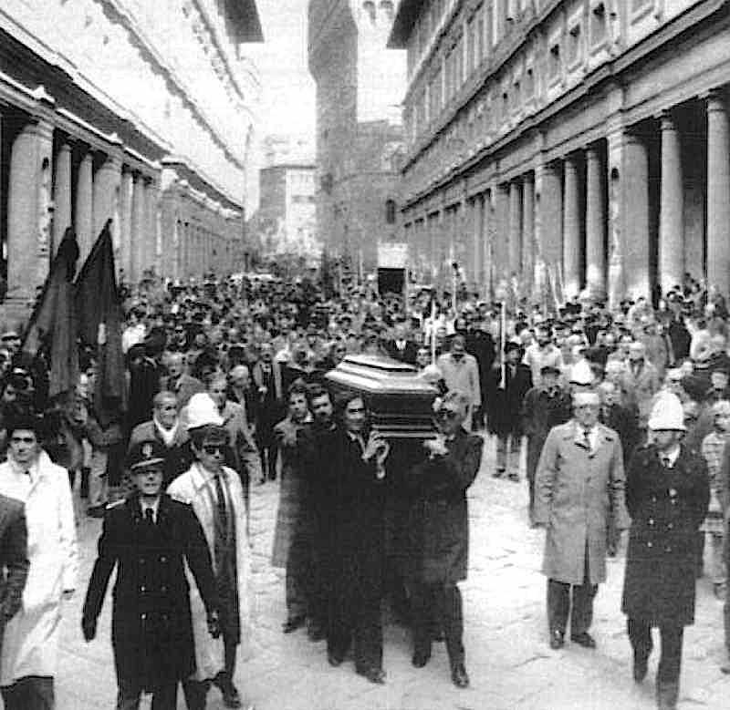 I funerali di Lando Conti, ex sindaco di Firenze, ucciso dalle Brigate rosse il 10 febbraio 1986.