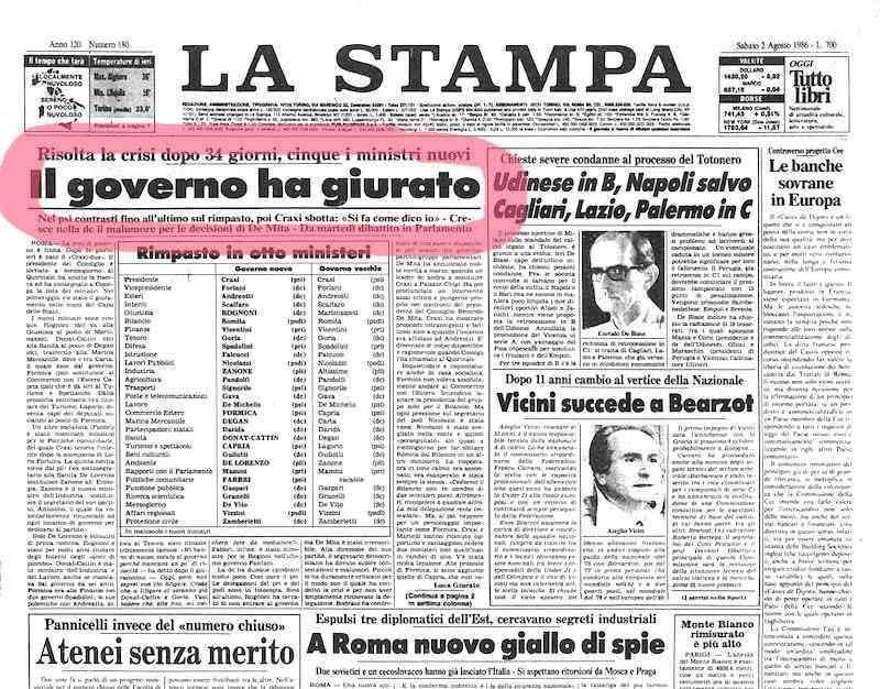 Ii governo craxi 1 agosto 1986 17 aprile 1987 for Composizione senato italiano