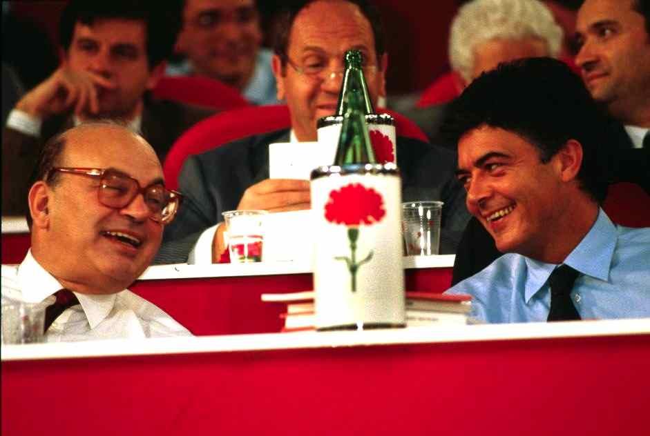 Bettino Craxi e Claudio Martelli al congresso del Psi a Rimini nel 1987.