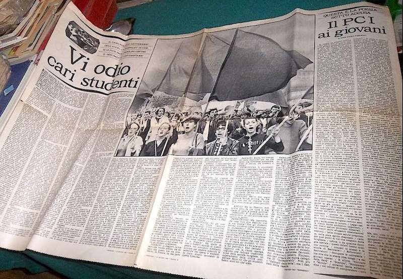 """La poesia """"Vi odio cari studenti"""" di Pasolini, pubblicata sull'Espresso."""