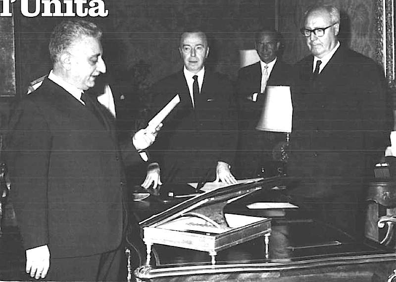 Il giuramento di Giovanni Leone per il suo secondo governo.