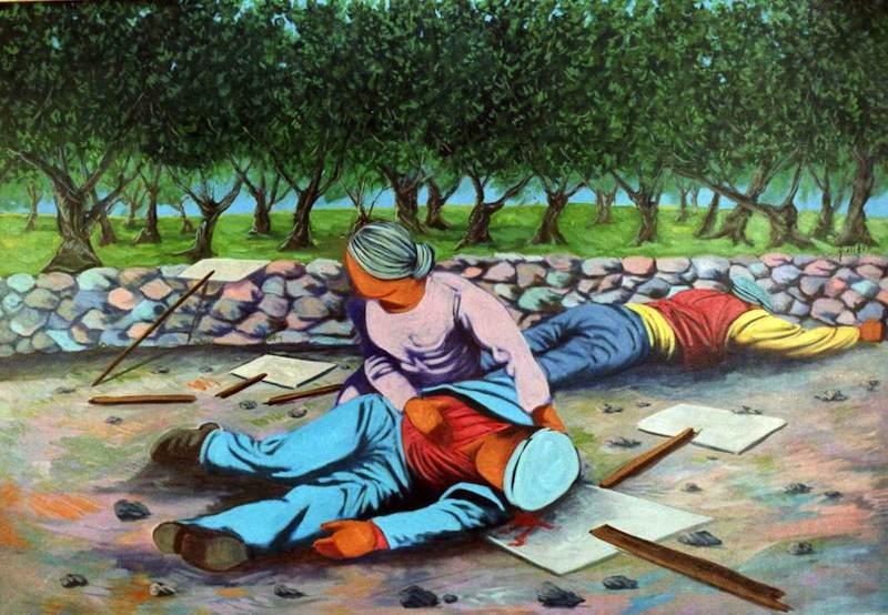 Un dipinto di Giuseppe Uzzaco del 1985, in ricordo dell'eccidio di Avola.
