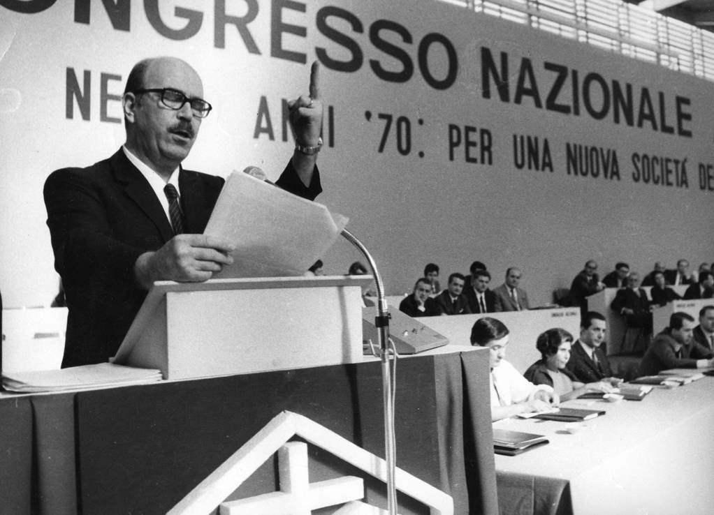 Livio Labor, presidente delle ACLI, all'XI congresso nazionale del 1969.