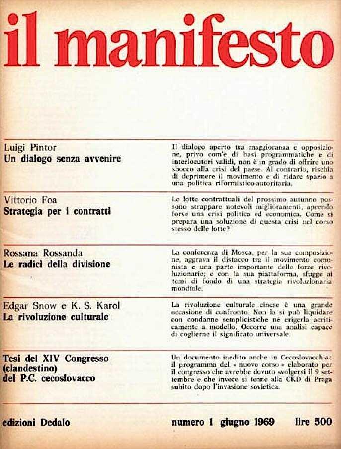 Il 1° numero della rivista mensile Il Manifesto.
