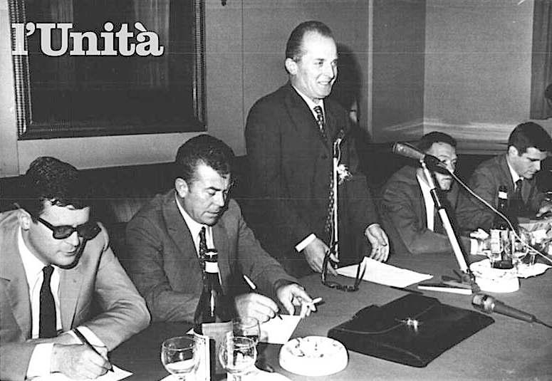 I segretari dei metalmeccanici durante una conferenza stampa: (da destra) Benvenuto  della Uilm, Trentin della Fiom e Macario della Fim.