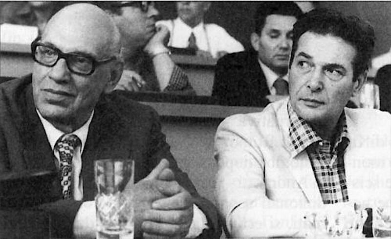 Luciano Lama, nuovo leader della Cgil, con il suo predecessore Agostino Novella.