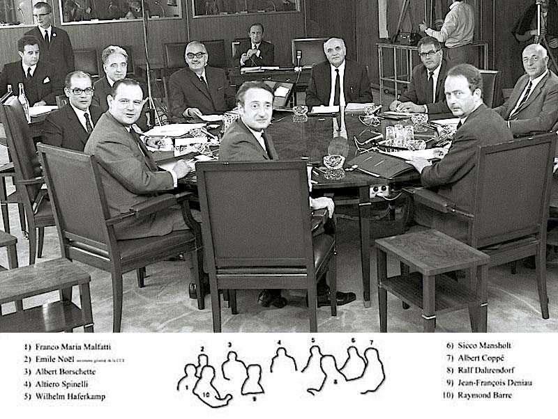 La prima riunione della Commissione europea presieduta da Malfatti.
