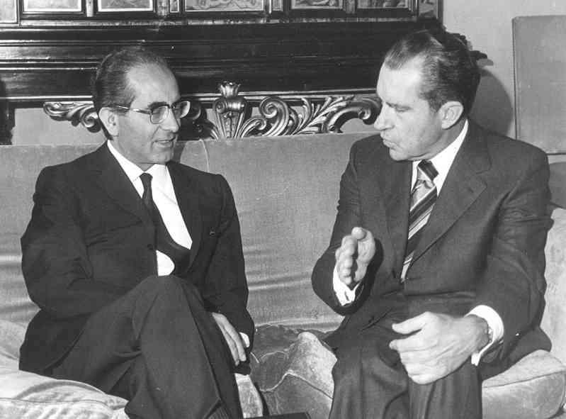 Nixon incontra Colombo durante la sua visita a Roma del settembre 1970.