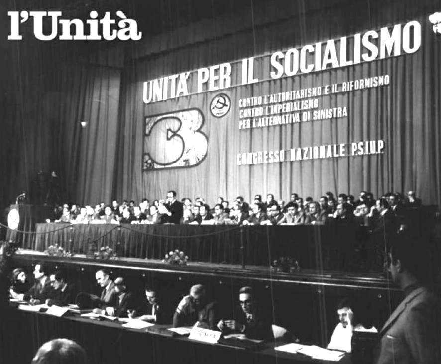 Il palco del III congresso dello Psiup.
