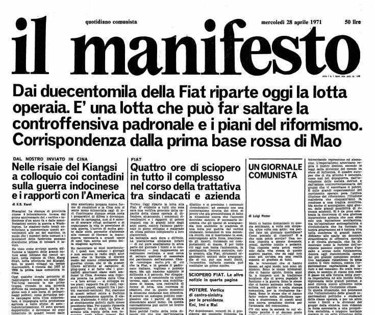 Il primo numero del Manifesto quotidiano.