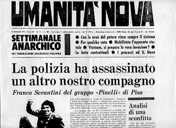 Il numero del giornale anarchico che denuncia l'assassinio di Serantini.