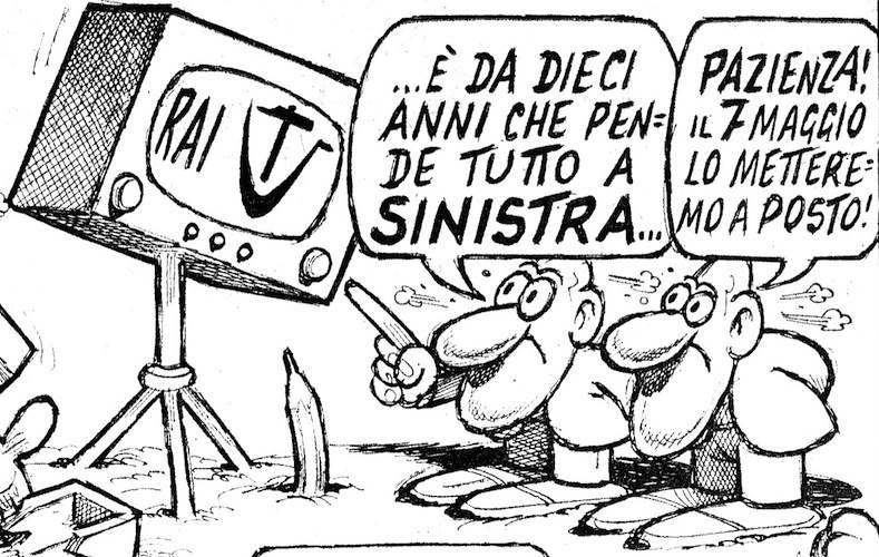 Vignetta di Jacovitti, decisamente schierato a destra.