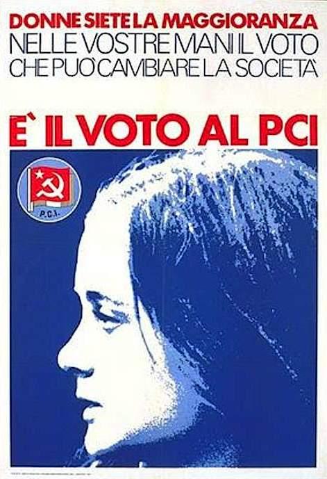 Manifesto elettorale del Pci, anch'esso indirizzato alle giovani.