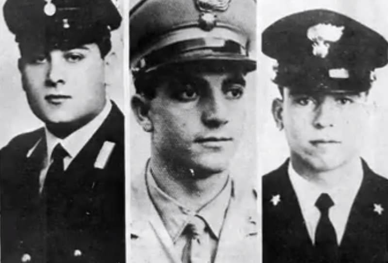 I tre carabinieri uccisi nella strage di Peteano.