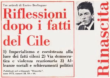 Gli articoli di Berlinguer apparsi su Rinascita dopo i fatti del Cile.