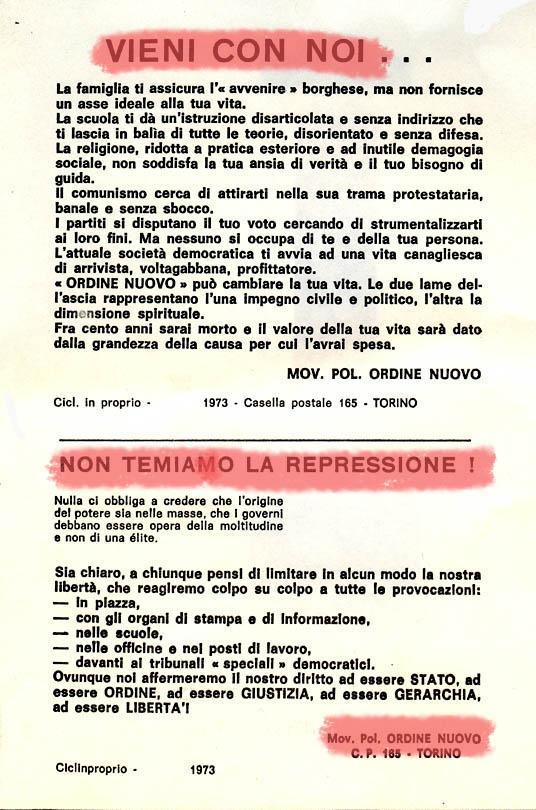 Volantino di Ordine nuovo, che sfida lo scioglimento del gruppo nel 1973.
