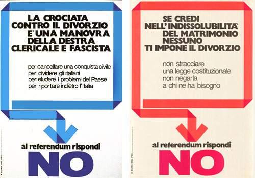 Manifesti per il No all'abrogazione della legge sul divorzio.