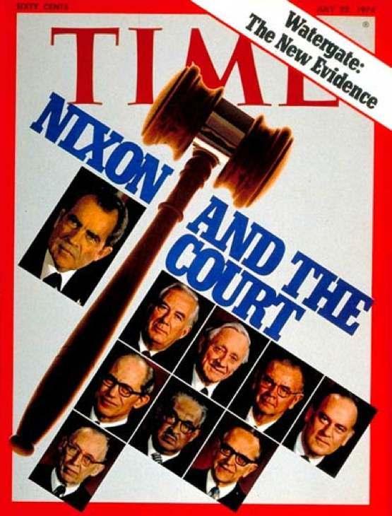 La copertina di Time dedicata allo scandalo Watergate che arriva al giudizio della Corte suprema statunitense.