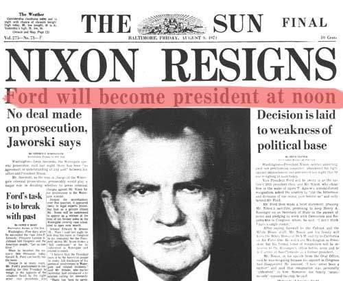 Le dimissioni di Nixon sono sulle prime pagine di tutti i quotidiani.