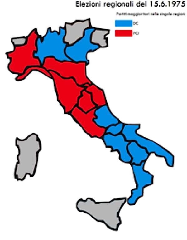 Il nuovo quadro delle giunte regionali uscito dalle elezioni del 1975.