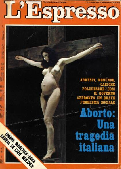 Copertina dell'Espresso dedicata al dramma dell'aborto clandestino.