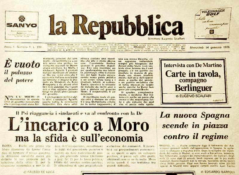 Il primo numero del quotidiano La Repubblica fondato da Eugenio Scalfari.
