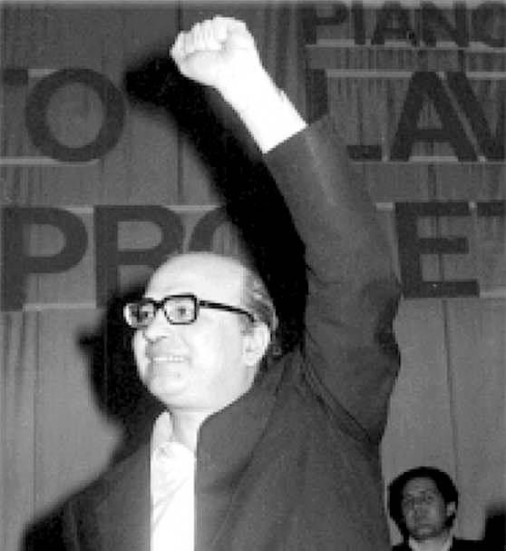 Bettino Craxi, eletto segretario del Psi dal Comitato centrale del 13 - 16 luglio 1976.