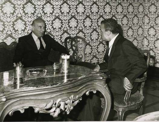 Il Presidente della Camera Ingrao incontra il nuovo Governatore della Banca d'Italia Guido Carli.
