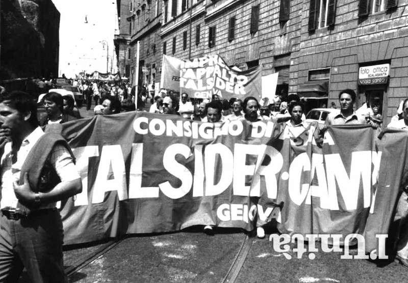 A Genova l'11 ottobre 1976 sciopero spontaneo degli operai dell'Italsider di Genova.