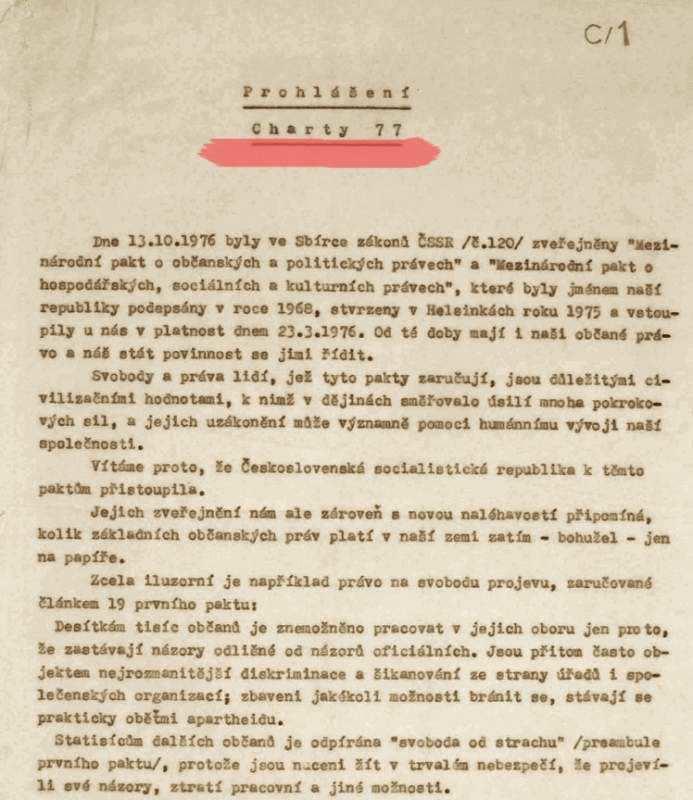 Il dattiloscritto di Charta 77, diffuso a Praga il 1 gennaio 1977.