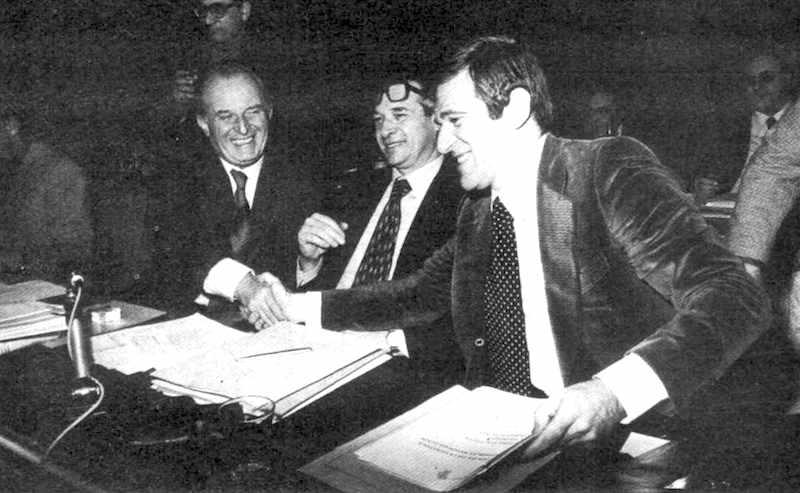 I segretari nazionali di Cgil (Lama), Cisl (Macario) e Uil (Benvenuto).