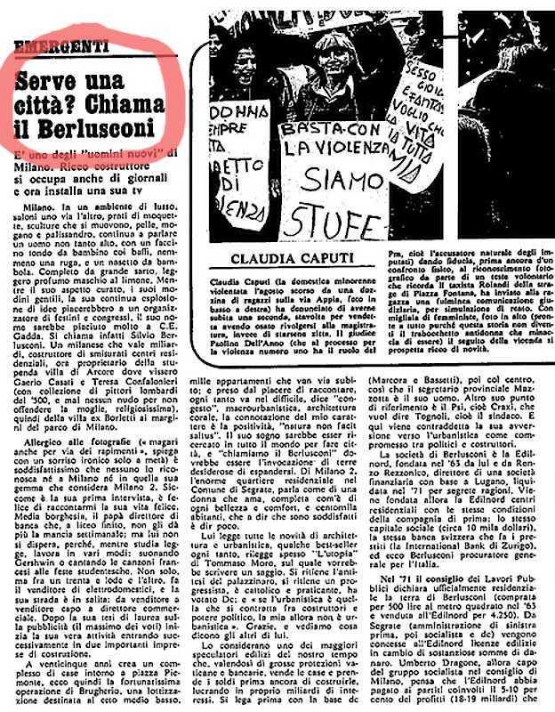 L'articolo di Camilla Cederna su Silvio Berlusconi, apparso su L'Espresso del 10 aprile 1977.