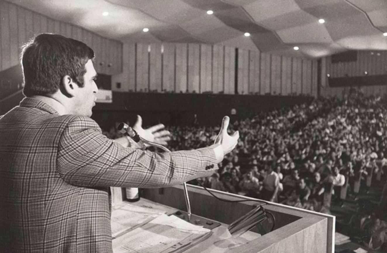 Giorgio Benvenuto al VII congresso della Uil del 1977.