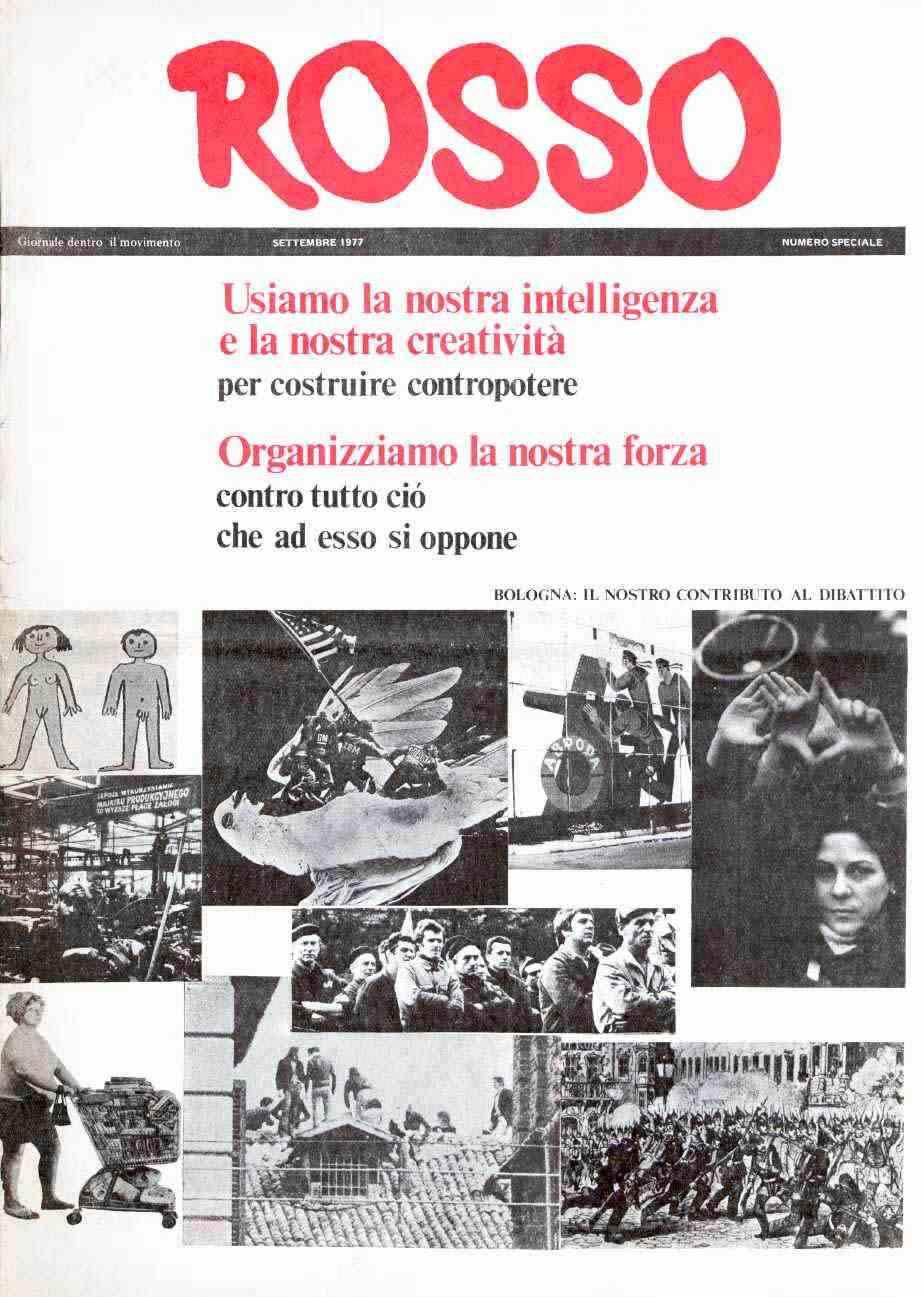 """""""Rosso, giornale dentro il movimento"""" del settembre 1977."""
