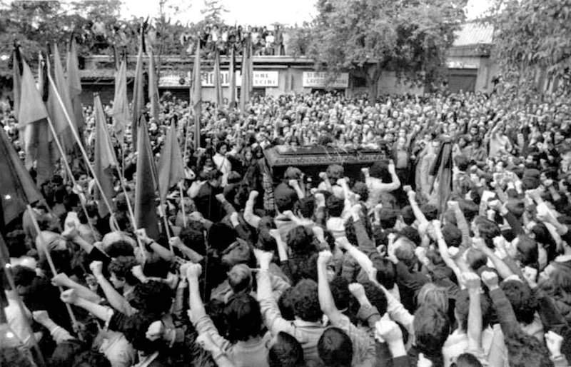 I funerali di Walter Rossi a Roma il 3 ottobre 1977.