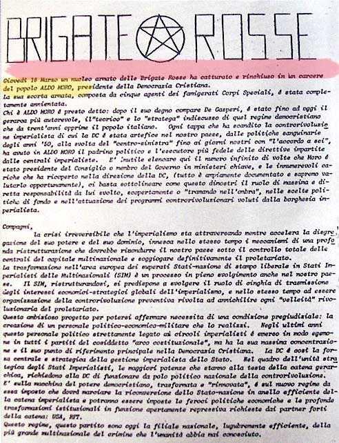 Il comunicato n. 1 delle Br per il sequestro Moro.
