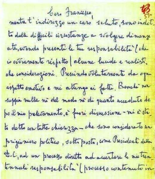 La lettera di Moro indirizzata a Cossiga.