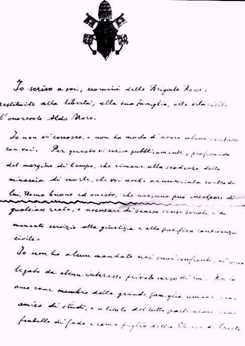 La lettera di Paolo VI alle Br per il sequestro Moro.