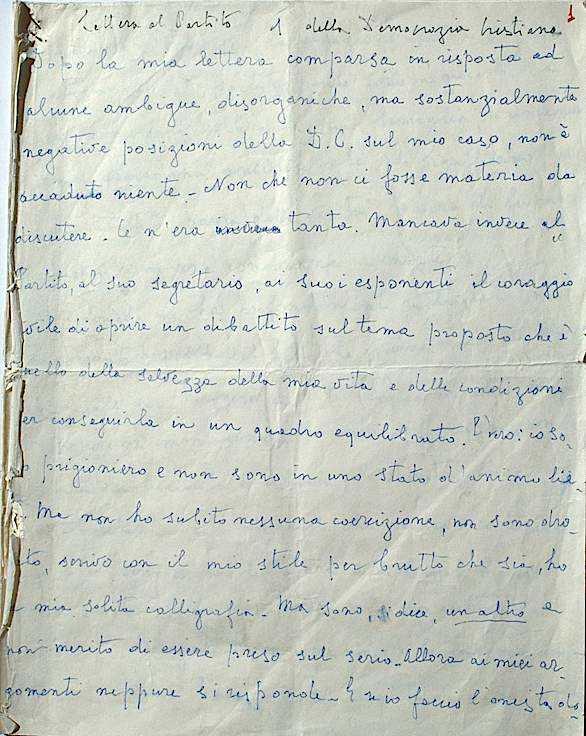 La lettera di Moro indirizzata al partito della Democrazia cristiana.