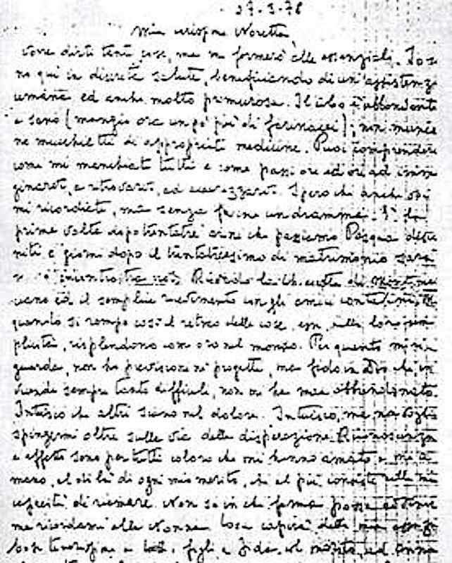 La lettera di Moro alla moglie Eleonora.