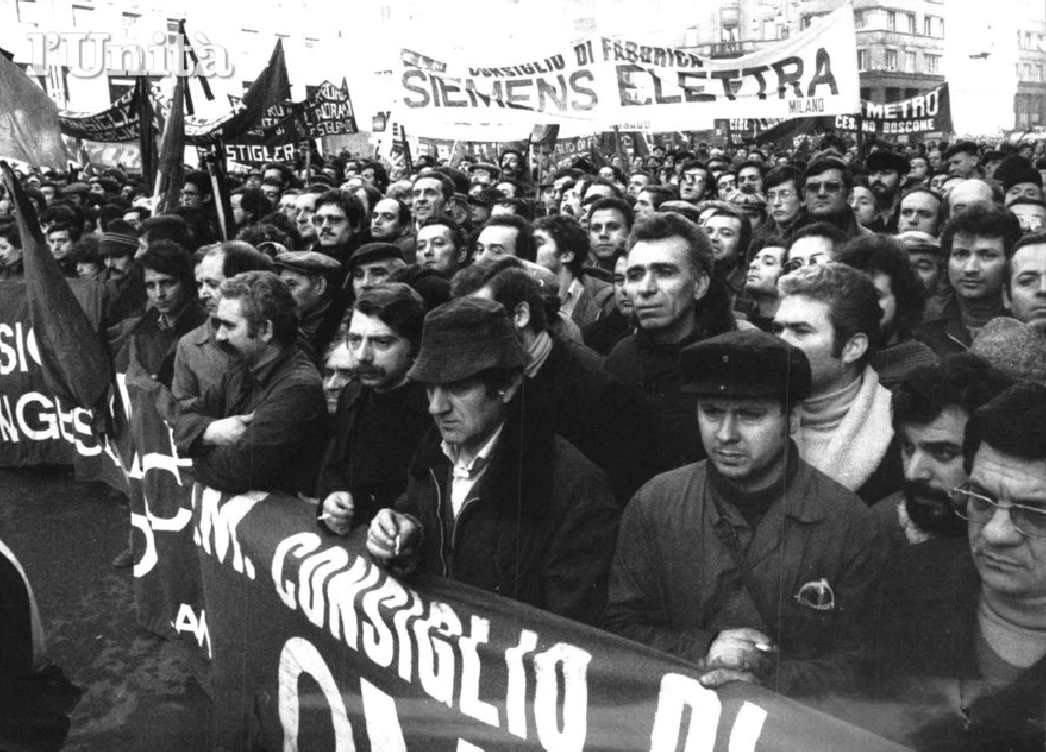 I lavoratori di Milano rispondono all'attacco terroristico dell'assassinio del giudice Alessandrini.