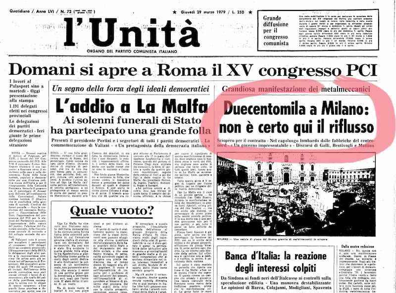 La manifestazione dei metalmeccanici milanesi per il contratto sulla prima pagina dell'Unità.
