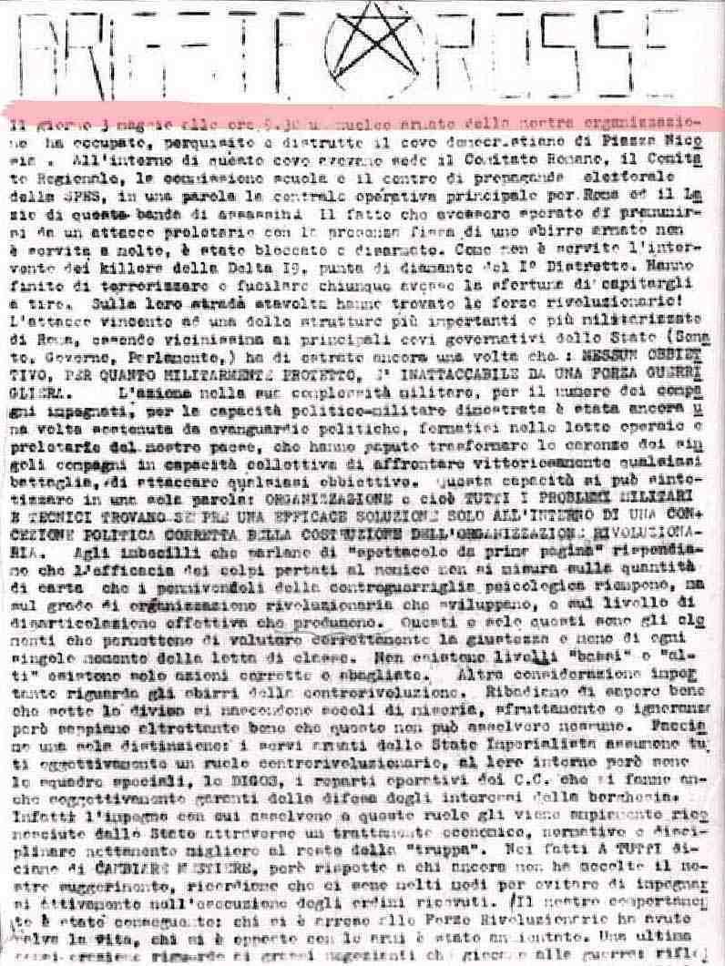 Il comunicato delle Br che rivendica l'assalto di piazza Nicosia.