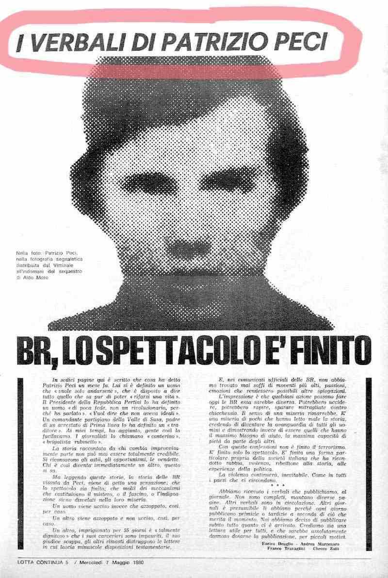 Uno dei numeri di Lotta continua in cui vennero pubblicati i verbali di Patrizio Peci, il primo brigatista pentito.