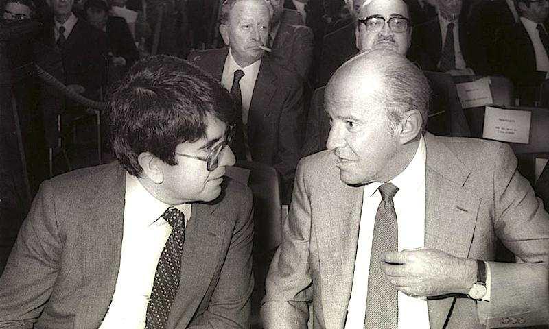 Vittorio Merloni, Presidente di Confindustria dal 6 maggio 1980, con Leopoldo Pirelli (a destra).