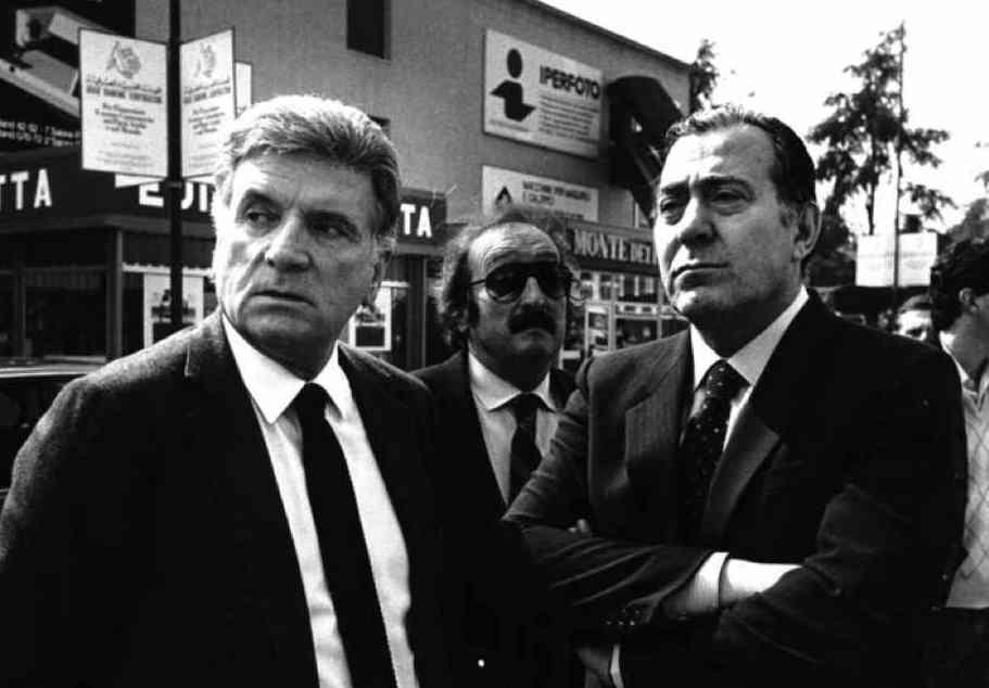 Sergio Zavoli (a sinistra), presidente Rai dal 12 giugno 1980, con Biagio Agnes, direttore generale della Rai dal 1982.