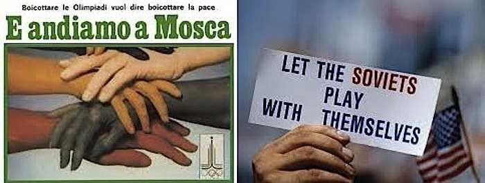 Manifesti di propaganda pro e contro il boicottaggio pacifista alle Olimpiadi di Mosca.