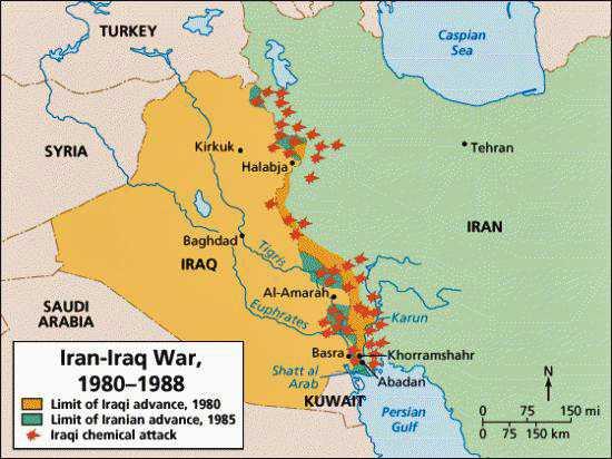 La carta con lo scenario delle operazioni militari nella guerra Iran-Iraq dal 1980 al 1988.