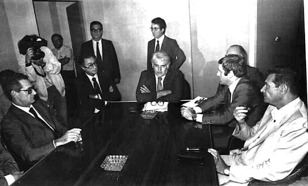 Lama, Carniti e Benvenuto il 5 ottobre 1980 incontrano Romiti, amministratore delegato Fiat, alla presenza del ministro del Lavoro Foschi.